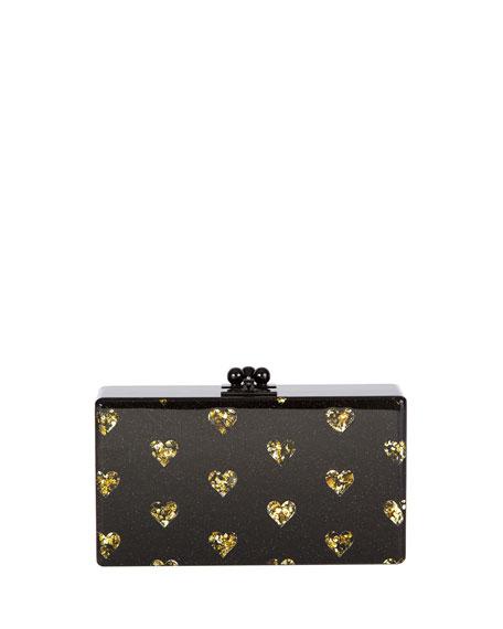 Jean Hearts Acrylic Clutch Bag, Black/Gold