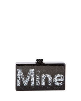 Edie Parker Jean Mine Acrylic Clutch Bag, Black/Silver