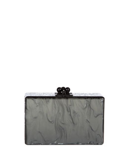 Edie Parker Minnie Marbled Acrylic Clutch Bag, Steel/Silver