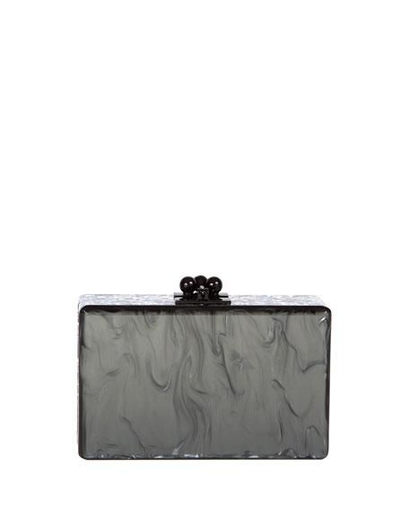 Minnie Marbled Acrylic Clutch Bag, Steel/Silver