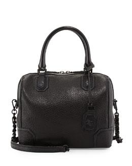 Olivia Shrunken Lamb Square Tote Bag, Black