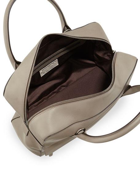 Monili-Trim Leather Zip Satchel Bag, Taupe