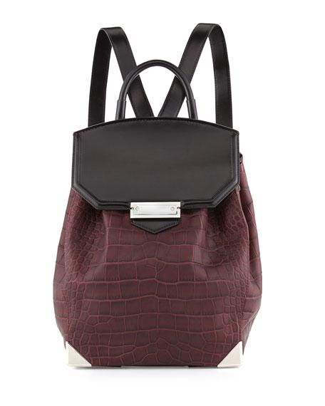 Prisma Croco-Embossed Flat-Bottom Backpack, Beet