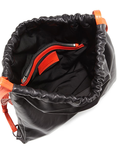 Drawstring Glove Deerskin Gym Sack, Black