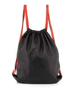 Alexander Wang Drawstring Glove Deerskin Gym Sack, Black