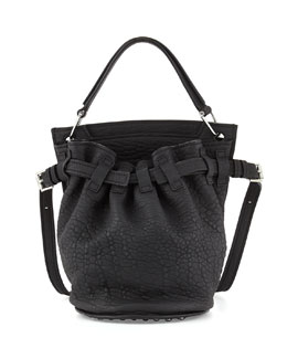 Alexander Wang Diego Rivet Flat-Bottom Lambskin Bucket Bag, Black