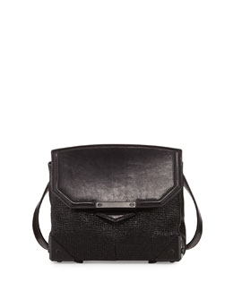 Alexander Wang Prisma Embossed Lambskin Flat-Bottom Crossbody Bag, Black