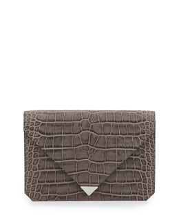 Alexander Wang Prisma Croc-Embossed Envelope Clutch Bag, Oyster