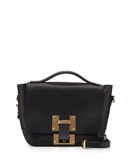 Mini Flap Soft Leather Shoulder Bag, Black