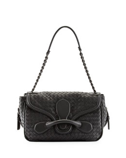 Bottega Veneta Intreccio Medium Flap Shoulder Bag, Charcoal