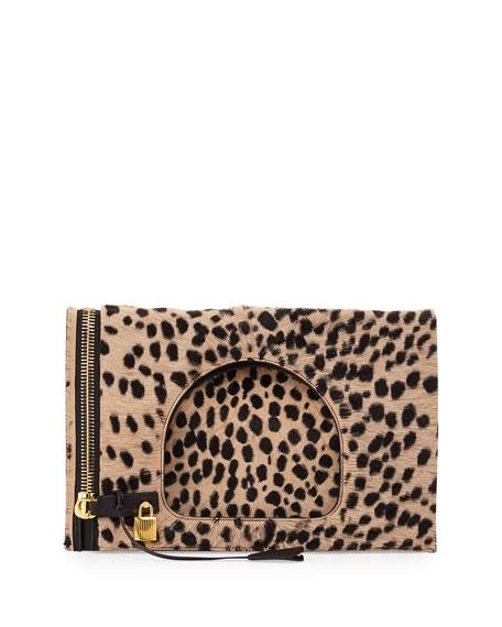Alix Calf Hair Padlock & Zip Shoulder Bag, Cheetah