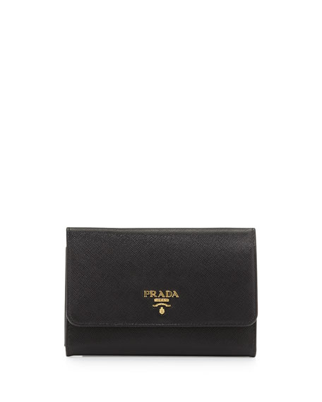 nylon prada messenger bag - Prada Saffiano Metal Oro Wristlet Wallet, Black (Nero)