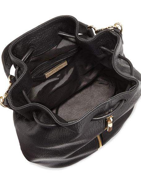 Cynnie Leather Drawstring Backpack, Black