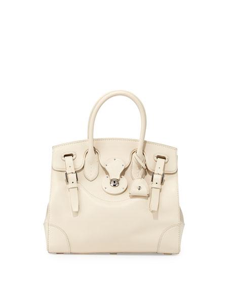 Soft Ricky 33 Calfskin Satchel Bag, Off White