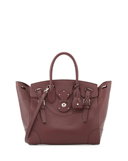 Ralph Lauren Soft Ricky 33 Medium Calfskin Satchel Bag, Bordeaux