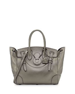 Ralph Lauren Soft Ricky 33 Calfskin Satchel Bag, Pewter