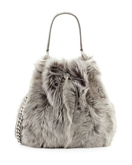 Ralph Lauren Shearling Fur Bucket Bag, Gray