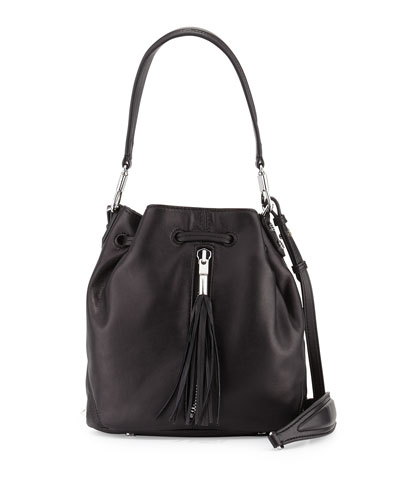 Cynnie Lamb Tassel Mini Bucket Bag, Black