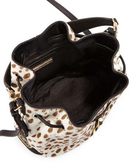 Cynnie Spotted Mini Bucket Bag, Ivory/Black