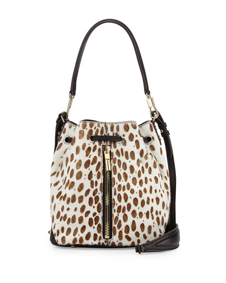 Cynnie Spotted Mini Bucket Bag, Ivory/Black
