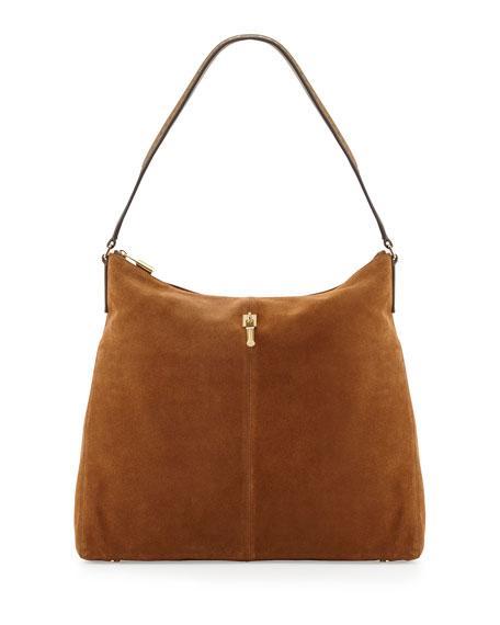 Pyramid Leather Hobo Bag, Coco