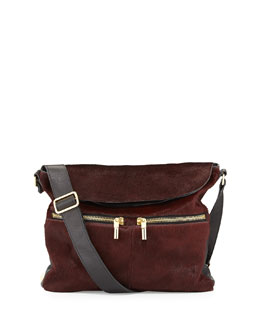 Elizabeth and James James Calf Hair Hobo Bag, Russet/Black