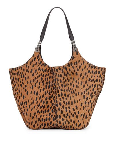 Cynnie Spotted Shopper Bag, Cognac/Black
