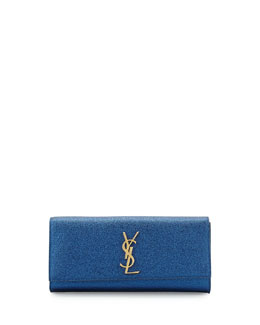 Saint Laurent Monogramme Crinkled Clutch Bag, Cobalt