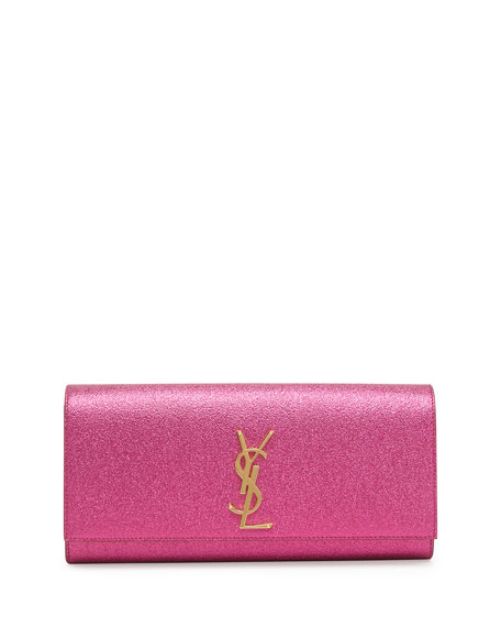 Monogram Crinkled Clutch Bag, Pink