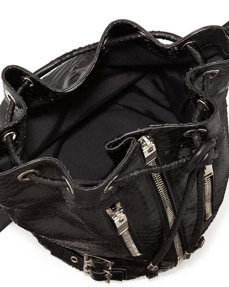Rider Medium Python-Print Bucket Bag, Black
