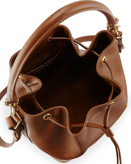 Medium Bucket Shoulder Bag, Cognac