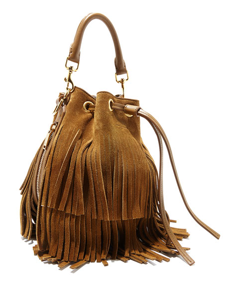 Saint Laurent Small Suede Fringe Bucket Shoulder Bag, Tan