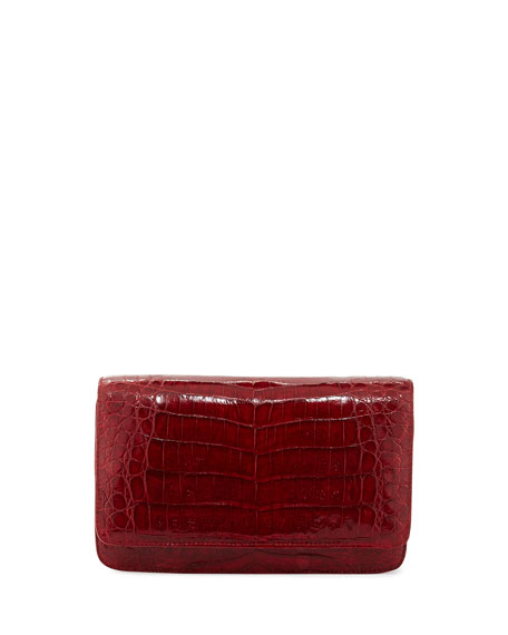 Crocodile Clutch Bag with Strap, Red