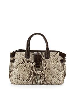 Nancy Gonzalez Cristina Medium Crocodile/Python Tote Bag, Natural/Crackle