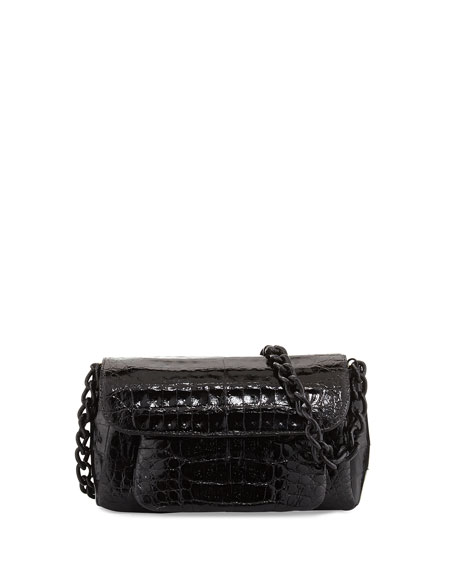 Crocodile Chain-Strap Shoulder Bag, Black