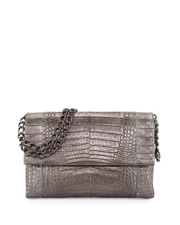 Nancy Gonzalez Crocodile Large Flap Shoulder Bag, Anthracite