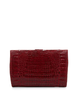 Crocodile Large Framed Clutch with Chain,, Red