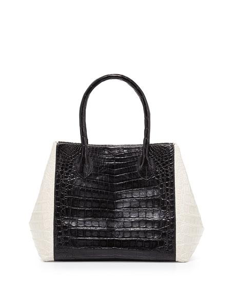 Bicolor Crocodile Trapeze Tote Bag, Black/White