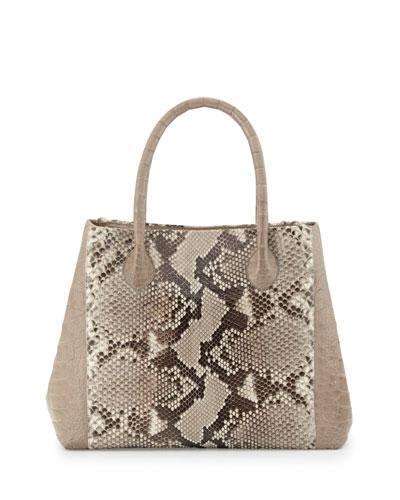 Small Python & Crocodile Tote Bag, Natural/Sand