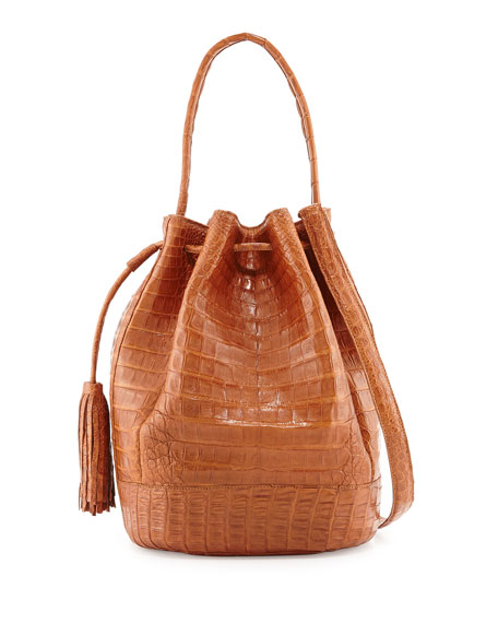 Medium Crocodile Tassel Bucket Bag, Cognac