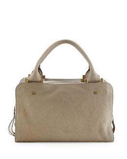 Chloe Dalston Triple-Zip Leather Satchel Bag, Gray