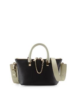 Chloe Baylee Mini Calfskin Satchel Bag, Black/Gray