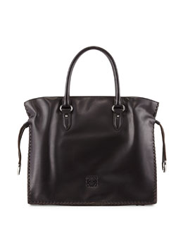 Loewe Flamenco Large Whipstitch Tote Bag, Black