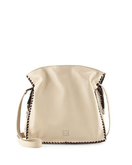 Loewe Flamenco 30 Whipstitch Shoulder Bag, Gray