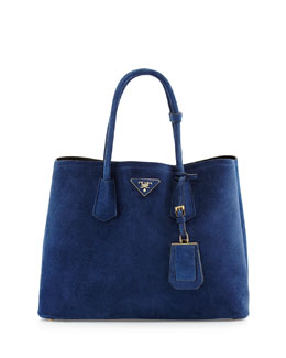 Suede Medium Double Bag, Navy