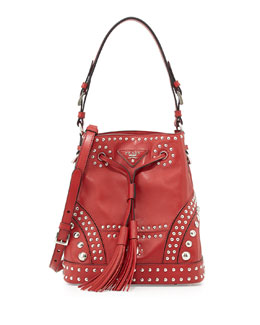 Prada Soft Calf Studded Bucket Bag, Red (Fuoco)