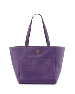 Prada Vitello Daino Small Shopper Bag, Violet (Viola)