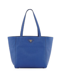 Prada Vitello Daino Small Shopper Bag, Blue (Royal)