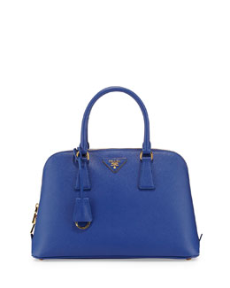 Prada Saffiano Small Promenade Satchel Bag, Blue (Royal)