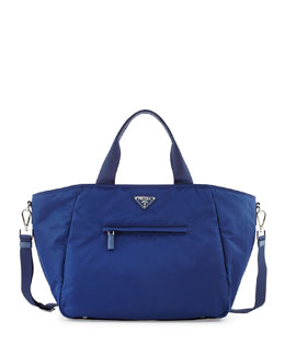 Nylon Tote Bag with Strap, Blue (Royal)